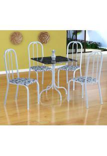 Conjunto De Mesa Malaga Com 4 Cadeiras Madri Branco E Branco Floral