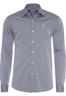 Camisa Masculina Chambray Colmeia - Cinza
