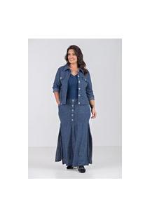 Jaqueta Em Moleton -Plus Size Marinho