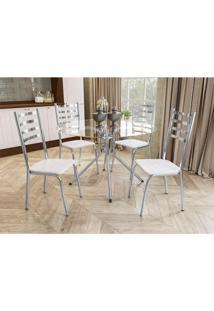 Conjunto Mesa Ural C/ 4 Cadeiras Alemanha Cromado/Branco Kappesberg - Tricae