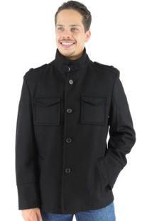 Casaco Masculino Oregon Em Lã Premium - Masculino-Preto