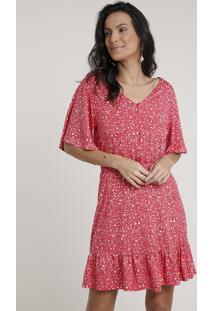 Vestido Feminino Curto Estampado Floral Com Babado Manga Curta Vermelho