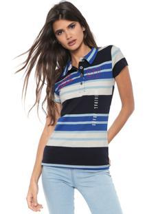 Camisa Polo Planet Girls Listrada Azul/Off-White