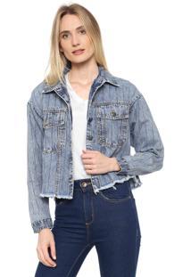 Jaqueta Jeans Lança Perfume Hotfix Azul