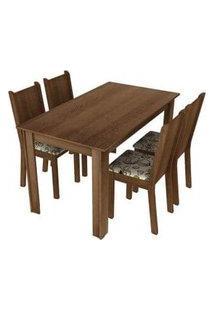 Conjunto Sala De Jantar Rosie Madesa Mesa Tampo De Madeira Com 4 Cadeiras Rustic/Floral Lírio Bege Rustic/Floral Lírio Bege