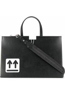 Off-White Bolsa Tote Com Detalhe De Logo - Preto