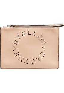 Stella Mccartney Clutch Com Logo Perfurado - Rosa