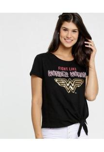 Blusa Estampa Frontal Paetês Liga Da Justiça Feminina - Feminino-Preto