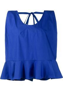 Delpozo Blusa Peplum - Azul