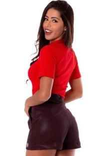 Blusa Miss Misses Gola Alta Feminina - Feminino-Vermelho Claro