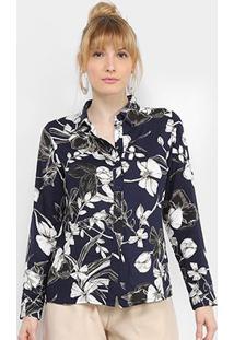 Camisa Charm Lady Floral Clássico Feminina - Feminino-Azul