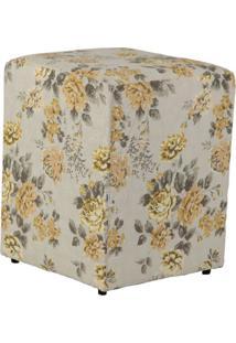 Puff Quadrado Cubo Jacguard Floral Amarelo I