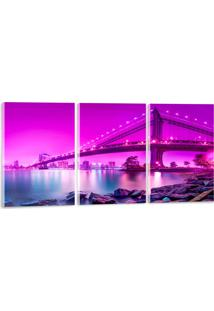 Quadro Oppen House 60X120Cm Ponte Brooklyn New York Decorativo Interiores