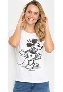 Blusa Cativa Disney Mickey Feminina - Feminino-Branco