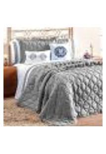 Jogo Cobre Leito King Size Cinza Clássico 7 Peças Completo Com Porta Travesseiro E Almofadas Decorativas