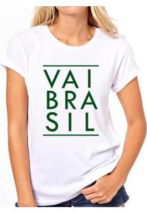 Camiseta Coolest Vai Brasil Feminina - Feminino-Branco