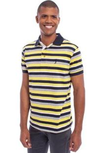 Camisa Polo Aleatory Listrada Magic Masculina - Masculino-Amarelo