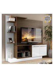 Estante Home Theater Com Suporte Para Tv Até 55'' Denver Multimóveis Madeirado/Branco
