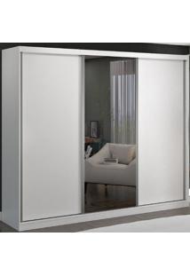 Guarda-Roupa Casal 3 Portas De Correr 1 Espelho 100% Mdf 8806E1 Branco - Foscarini