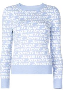 Joostricot Blusa De Tricô Com Logo - Azul