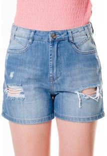 Bermuda Multi Ponto Denim Com Rasgos Jeans