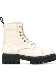 Alexa Chung Ankle Boot Com Solado Chunky - Neutro