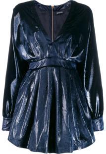 Balmain Vestido De Veludo Com Decote Em V - Azul