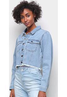 Jaqueta Jeans Influencer Cropped Manga Bufante Barra Desfiada Feminina - Feminino-Azul Claro