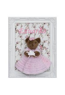 Quadro Maternidade Ursa Ursinha Rosa Enfeite Provençal Bebê Potinho De Mel