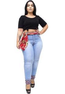Calça Jeans Latitude Plus Size Marineusa Feminina - Feminino-Azul