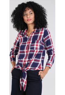 Camisa Feminina Estampada Xadrez Com Nó Manga Longa Azul Marinho