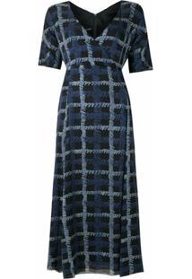 Emporio Armani Vestido Longo De Seda Estampado - Azul