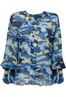 Blusa Le Lis Blanc Kate Moss Ii Estampado Feminina (Camuflado Azul, 48)