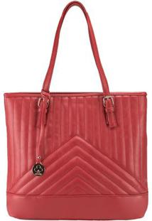Bolsa Shopping Bag Stz Matelassê Geométrico Vermelho -