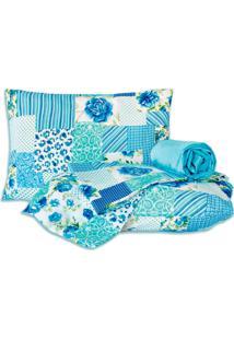 Jogo De Cama Standard Patchwork Azul Casal Padrão 160 Fios 04 Peças Dourados Enxovais