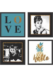 Conjunto Com 4 Quadros Decorativos Hollywood Stars Colorido