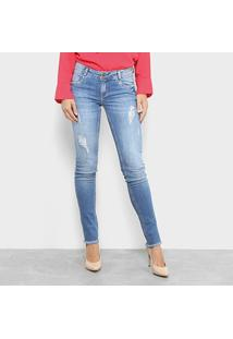 Calça Jeans Skinny Morena Rosa Base Andreia Bordado Feminina - Feminino