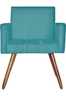 Poltrona Decorativa Kasa Sofá Vitoria Suede Azul