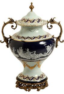 Vaso Decorativo De Porcelana E Bronze Aksu
