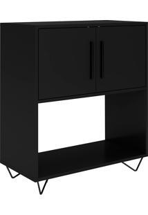 Mesa De Apoio Com 2 Portas Easy Blc 50-Brv Móveis - Preto