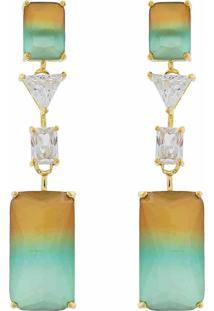 Brinco Narcizza Semijoias Pêndulo Quadrados Multicollors - Rainbow Marrom E Verde Com Detalhes Cristal Ouro