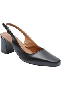 Sapato Chanel Em Couro Com Fechamento- Preto- Salto:Le Rossi