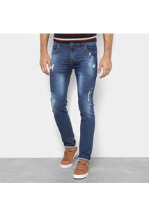 Calça Jeans Preston Destroyed Estonada Masculina - Masculino-Azul Escuro