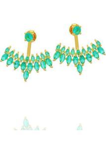 Brinco Dona Diva Semi Jóias Ear Jacket Feminino - Feminino-Dourado+Azul
