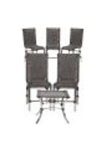 Jogo Cadeiras 5Un E Mesa De Centro Sevilha Para Edicula Jardim Area Varanda Descanso - Tabaco