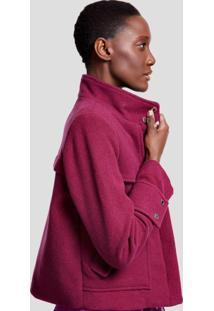 Jaqueta De Lã Com Bolsos E Recorte Color Roxo Uva Light