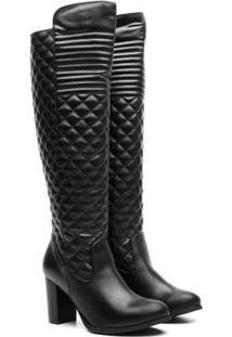 Bota Over The Knee Com Salto Médio Textura Inverno Feminina - Feminino-Preto