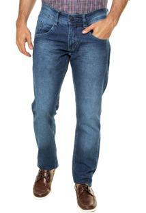 Calça Jeans Biotipo Slim Fit Amassados Azul