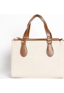 Bolsa Com Recorte Texturizado- Off White & Marrom Claro