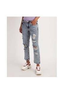 Calça Jeans Feminina Boyfriend Cintura Média Destroyed Azul